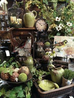 Our big Spring display with birds and lots of greenery mantel colors/decor Vintage Display, Antique Booth Displays, Antique Booth Ideas, Antique Mall Booth, Flea Market Displays, Flea Markets, Garden Center Displays, Vibeke Design, Decoration Plante
