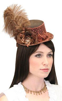 Steampunk Ladies Brown Wool Top Hat | Gothic | Pirate | LARP | Cosplay | Retro | Vampire || Fascinator - Brown Top Hat