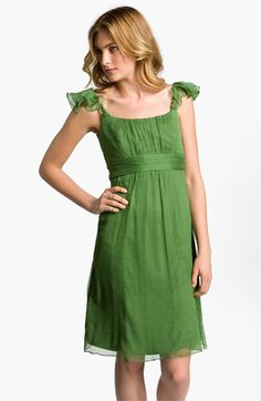 Amsale Ruffle Sleeve Empire Waist Silk Chiffon Dress | Nordstrom