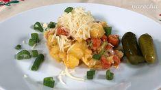 Zemiaková dobrota so Zipser párkami (videorecept) - recept | Varecha.sk Shrimp, Meat, Chicken, Food, Essen, Meals, Yemek, Eten, Cubs