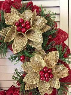52 Unique Christmas Wreath Decoration Ideas For Your Front Door - Wreath Ideen Burlap Christmas Ornaments, Easy Christmas Decorations, Xmas Wreaths, Easy Christmas Crafts, Christmas Projects, Simple Christmas, Spring Wreaths, Christmas Swags, Easter Wreaths