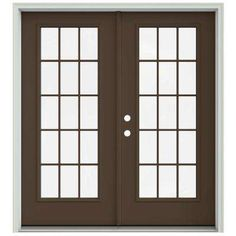 72 in. x 80 in. Dark Chocolate Prehung Right-Hand Inswing 15 Lite French Patio Door with Brickmould