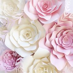 Paper Flower backdrop for weddings and events - other color choices available. This pretty group of amazingly detailed paper flowers consists of: 7