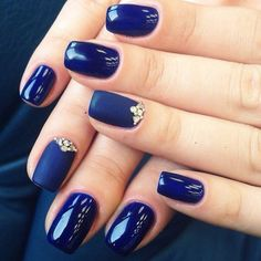 Beautiful nails 2016, Blue gel nail polish, Evening nails, Exquisite nails, Luxury nails, Matte nails, Plain nails, Shades of blue nails