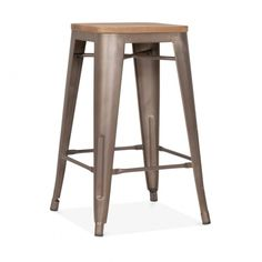 Rustic with Option Wood Seat 65cm Tolix Style Stool | Cult UK