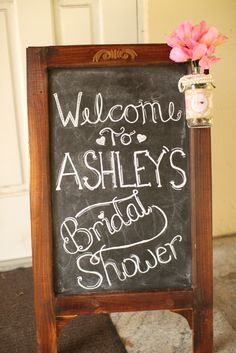 Welcome sign at a Shabby Chic Bridal Shower!  See more party ideas at CatchMyParty.com
