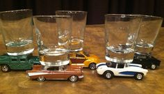 Super fun way to rev up happy hour -- find shot glasses and hot wheels @thrift town - and off you go >>>>>>