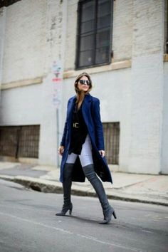 Stylecaster winter outfits - boots over jeans, high slit belted t-shirt, oversized structured top/coat