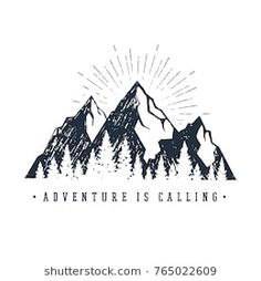 """Hand drawn inspirational label with mountains and pine trees textured vector illustrations and """"Adventure is calling"""" lettering. - Buy this stock vector and explore similar vectors at Adobe Stock Mountain Drawing Simple, Mountain Sketch, Mountain Art, Mountain Images, Mountain Landscape, Tree Drawings Pencil, Easy Drawings, Pine Tree Tattoo, Mountain Designs"""