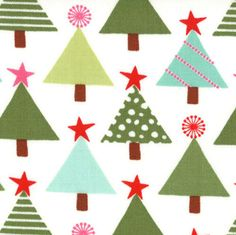 Christmas Tree Fabric - Joy Tannenbaum by Kate Spain for Moda Fabrics 27122 13 Snow - 1/2 yard on Etsy, $5.25
