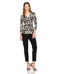 #womensfashion Anne Klein Women's Terrace Shade Print Wrap Top with Buckle: At Women's Clothing Center, we offer our… #womensclothing