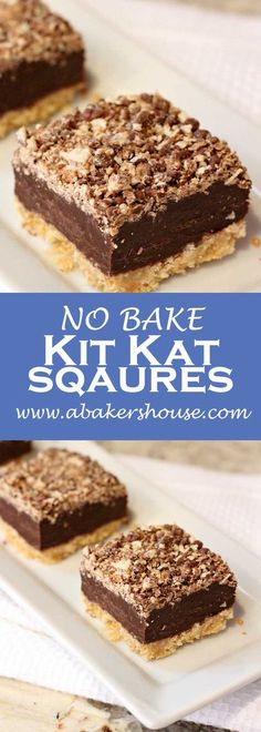 No bake Kit Kat Squares! There is a wafer cookie crust on the bottom, layered next with a chocolate and condensed milk, and topped with a kit kat crumbs. No baking required-- just the microwave and the refrigerator make these beauties! #Halloween #Easter #desserts