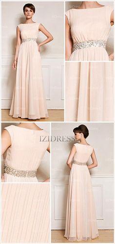 A-Line/Princess Bateau Floor-length Chiffon Evening Dress - IZIDRESSES.com at IZIDRESSES.com