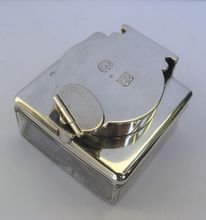 Sterling and Glass Traveling Locking Ink Well by Collins & Cook (How cool is this)