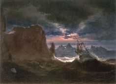 Ship in Breaking Waves Peder Balke c. Oil on Canvas (KODE – the Art Museums of Bergen) Moonlight Painting, Scandinavian Art, Nocturne, Art Museum, Painting & Drawing, Amazing Art, Norway, Illustrators, Oil On Canvas