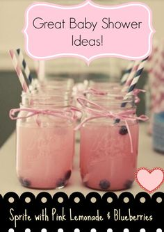 Baby Shower Ideas – Lemonade In Mason Jars. I would do the lemonade without the Mason jars… but this website it has so many great ideas for baby shower stuff! Idee Baby Shower, Baby Shower Drinks, Shower Party, Baby Shower Games, Baby Shower Parties, Shower Favors, Baby Girl Shower Food, Baby Shower Cake For Girls, Party Favors