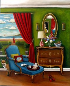 """Afternoon On Pine Point - New 6x6"""" Original Painting by artist Catherine Nolin 