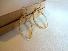 Gold Brushed Vermeil Mixed Metals Wire Wrapped Silver and Gold Dangle Drop Delicate 14k Gold Fill Earrings on Etsy, $48.00