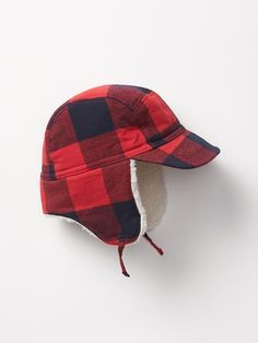 Flannel plaid trapper hat