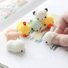 ad571aa7eb51 6PCS Mochi Seal Chicken Tiger Pig Bunny Bear Squeeze Squishy Healing Toy  Collection Stress Reliever Sale