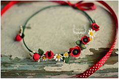 Summer flowers hair wreath clay popies hair wreath by Zubiju