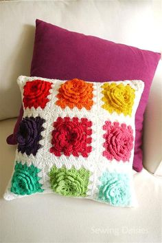 granny square pillow motif crochet