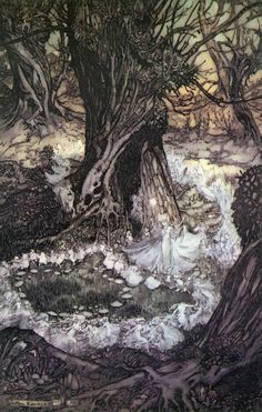 Fairies This is an Arthur Rackham illustration the fairies dancing in the forest from Midsummer Night's Dream. I own this beautiful book, edition printed in Just wanted to share :-) Arthur Rackham, Art And Illustration, Westminster, Kensington Gardens, Art Magique, Fairy Ring, Ecole Art, Brian Froud, Fairytale Art