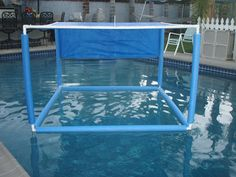 Pool Noodle Baby Shade ~ with some PVC pipe, some connectors, a tarp, zip ties and voila! The Made In The Shade pool shade was invented.