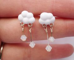 Winter Snow Cloud Dangly Post Earrings.....I know a certain someone who can make these :) Jen :)