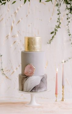 Blush, Grey and Gold Leaf Shoot styled by Helaina Storey, photograph by Rebecca Goddard Photography. Marble, gold leaf and rose quartz cake by Blossom & Crumb Chic Wedding, Trendy Wedding, Gold Wedding, Wedding Table, Dream Wedding, Wedding Day, Wedding Stuff, Wedding Cake Designs, Wedding Themes