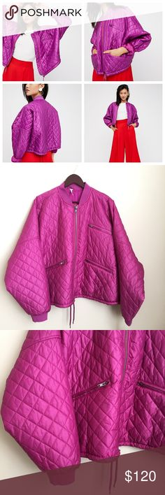 "New Free People Easy Quilted Bomber Jacket Orchid Free People Easy Quilted Bomber Jacket Size Large NWT $168 Orchid Pink Batwing  Nylon bomber featuring a quilted design with exposed outer pocket details and a drawstring band for added shape.   Front zipper closure  Contrast collar and sleeve cuffs Machine Wash Cold  Import  New with tags MSRP $128  Size: Large  Color: Orchid  Measurements taken while laying flat:   34"" armpit to armpit  25"" length   30"" waist  Fits oversized Free People…"