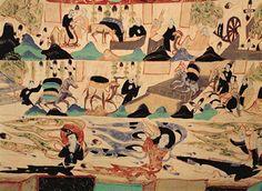 敦煌莫高窟第296窟,窟內壁畫繪于557-581年,分上下兩層,展現了『絲綢之路』上商旅往來的景象   中國華文教育網-敦煌莫高窟