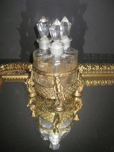 Antique French Triple Perfume Bottle Cut Crystal Gold Gilded Cherub Figural Cask   eBay