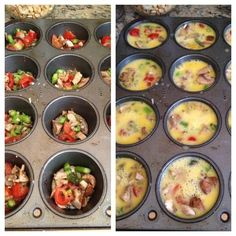 Easy Breakfast--Bake scrambled eggs at 350 for 20 min. (1 egg and veggies in a sprayed muffin pan)