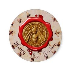 HONEY BEE / BEEKEEPER BEEKEEPING RED WAX SEAL ROUND STICKERS ,Backside of an ancient money from Mileto 415-394 a.C.Cool design for apiarist,beekeeper,beekeeping supplies.