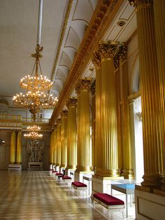 The gilded Corinthian Order in the Armoriar Hall, Winter Palace, St. Petersburg, Russia