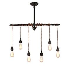 Unitary Brand Rustic Black Metal Hanging Pendant Light with 6 E26 Bulb Sockets 240W Painted Finish - - Amazon.com
