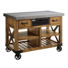 wheeled cart metal kitchen island new large wooden kitchen island cart metal top 48 wooden drawers Kitchen Island Cart, Kitchen Trolley, Wooden Kitchen, New Kitchen, Serving Trolley, Outdoor Serving Cart, Buffet Cabinet, Wooden Drawers, Types Of Furniture