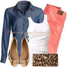 """Denim Top & Colored Jeans"" by casuality on Polyvore"