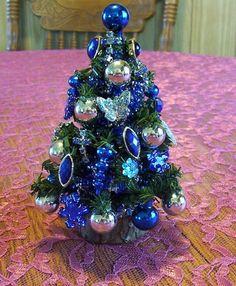 "miniature blue Dollhouse or tabletop Christmas tree 5 1/2""   eBay"