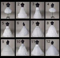 12 Styles Wedding Bridal A-line/ Train Petticoat/ Hoop/ Short skirt/ Crinoline