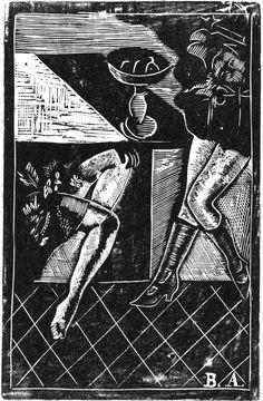 "Б. Аронсон, ""В кафе"", 1923; ксилография"