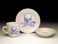 KID SET skull and crossutensils in BLUE set of 3 by foldedpigs, $38.00