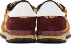 Valentino Tiger Print Calf-Hair & Burgundy Suede Sneakers