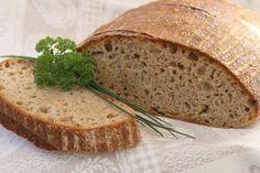 Špaldovo - ražný kváskový chlebík - recept - My site Spelt Flour, Bread Recipes, Ham, Banana Bread, Smoothie, Cheesecake, Healthy Recipes, Desserts, Mascarpone