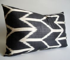 Sukan / Handwoven Silk ikat Pillow Cover Decorative Throw Pillow Covers Lumbar Pillow Covers - Dark Gray, Ivory Color. $49.95, via Etsy.