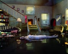 "Photography by Gregory Crewdson: ""I work with a production crew that all come out of film. We work with cinematic lighting but we are only after creating one single perfect moment."""