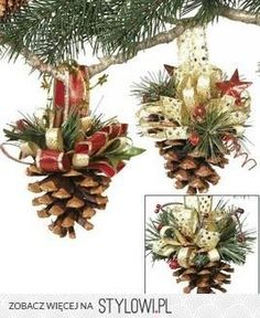 Decorate your Christmas tree beautifully with the Makers Holiday Pack of 8 Pinecone Ornaments-Gold. These Christmas ornaments are crafted in the shape of pine cones to match your seasonal decor settin Noel Christmas, Homemade Christmas, Rustic Christmas, Winter Christmas, All Things Christmas, Christmas Wedding, Christmas Pine Cones, Natural Christmas, Beautiful Christmas