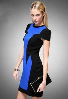 Blue Black Color Block Cap Sleeve Desinger Pencil Dress