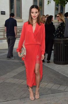 Style Chat: Jamie Chung Our Favorite Looks: The actress looked oh-so-classy in a red Mason by Michelle Mason wrap dress, featuring a sultry lace-embellished thigh-high slit, during the Resident Advisors premiere. Dress Skirt, Wrap Dress, Dress Up, Red Dress Outfit, Dress With Blazer, Lace Skirt, Lace Dress, Kimono Dress, Maxi Skirts